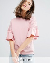 Monki Jersey Frill Top