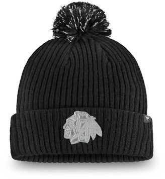 Women's Fanatics Branded Black Chicago Blackhawks Lunar Cuffed Knit Hat With Pom