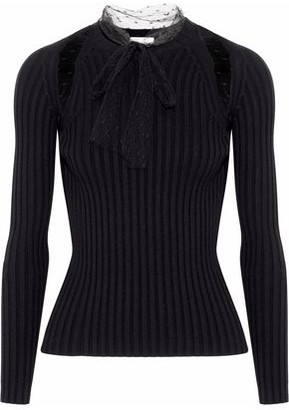RED Valentino Pussy-bow Point D'esprit-trimmed Ribbed-knit Sweater