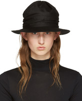 Y's Ys Black Twist Drape Hat
