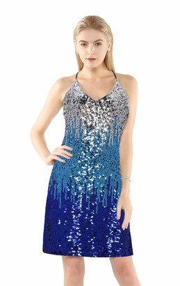 Metme Women's Sequin Cocktail Dress V Neck Bodycon Glitter Party Dress Bringht Pink/Red/Burgundy Red L UK 14