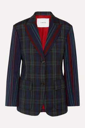 Pushbutton - Paneled Tartan And Striped Wool-blend Blazer - Navy