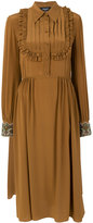 Rochas pleated and ruffled front bib dress