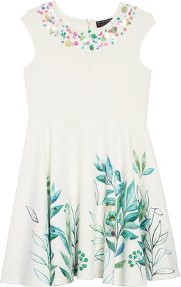 Hannah Banana Leafy Print Embellished Dress