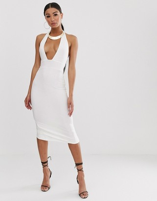 New Age Rebel plunge cut out front dress