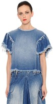 Marna Ro RAW EDGE WASHED COTTON DENIM TOP