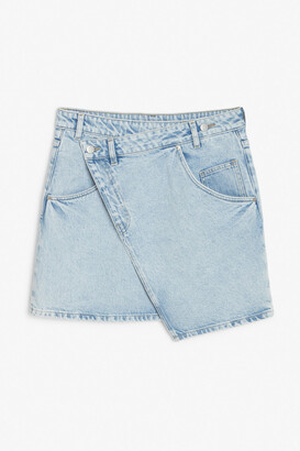 Monki Asymmetric denim mini skirt