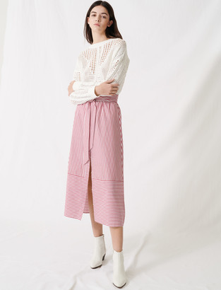 Maje Long striped tie skirt