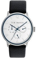 Ted Baker Men's 10023491 Slim case matte dial with navy hands and smooth black genuine leather strap multifunction watch