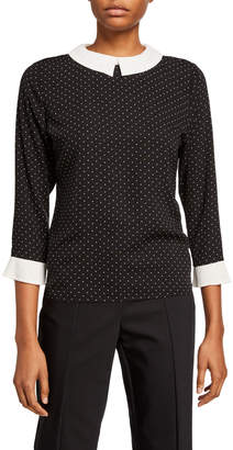 Neiman Marcus 3/4-Sleeve Contrast-Collar Dotted Top