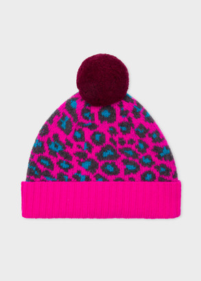Women's Pink Wool 'Leopard' Bobble Hat