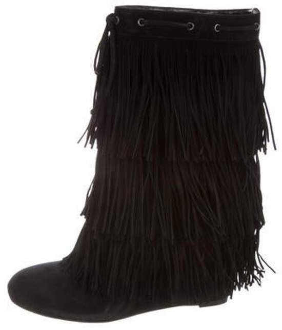 b3b7e199bee Fringed Suede Wedge Ankle Boots Black Fringed Suede Wedge Ankle Boots