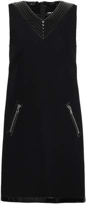 Moschino Faux Patent Leather-trimmed Wool-blend Felt Mini Dress