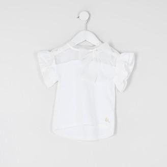River Island Mini Girls White organza bow T-shirt