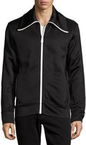 Burberry Funnel-Neck Jersey Track Jacket, Black