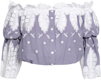 Miguelina Cropped Off-the-shoulder Guipure Lace And Embroidered Cotton Top