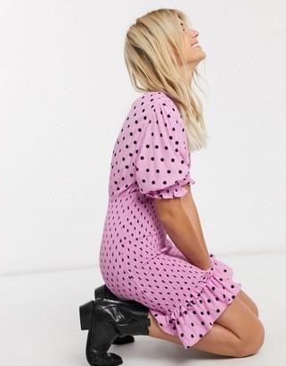 Faithfull The Brand Faithfull margherita polka dot shirred short sleeve mini dress