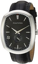 Philip Stein Teslar Men's 'Modern' Swiss Quartz Stainless Steel and Leather Casual Watch, Color:Black (Model: 72-CBK-CSTAB)