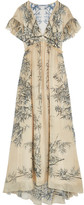 Philosophy di Lorenzo Serafini - Ruffled Printed Silk Maxi Dress - Cream