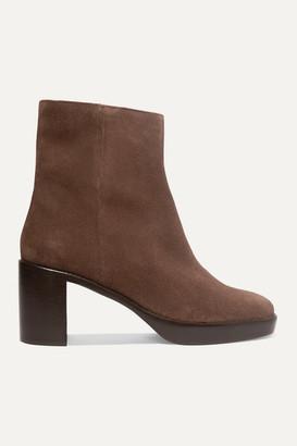 BY FAR Ellen Suede Platform Ankle Boots - Chocolate