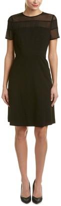 Nine West Women's Mesh/Ponte Combo Dress W/Flared Skirt
