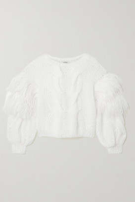 Loewe Feather-trimmed Cable-knit Mohair-blend Sweater - White