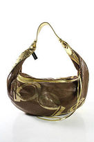 Bebe Gold Metallic Leather Adjustable Handle Chainmail Hobo Shoulder Handbag