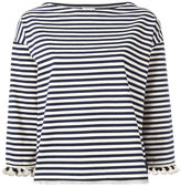 Moncler pom pom fringed trim striped top - women - Cotton - XS