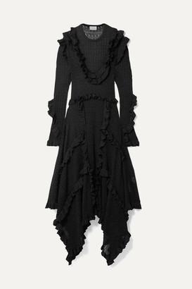 By Malene Birger Erna Asymmetric Ruffled Pointelle-knit Lurex Maxi Dress - Black