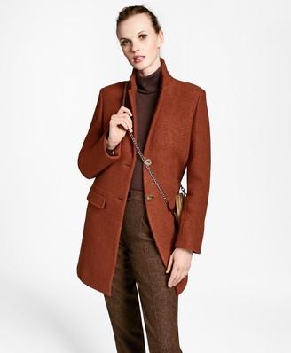 Brooks Brothers Wool Boucle Melton Cocoon Coat