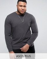 Asos PLUS Lightweight Muscle Sweatshirt In Washed Black