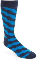 Happy Socks Men's 'Wave' Graphic Cotton Blend Socks
