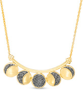 """Zales 1/3 CT. T.W Enhanced Black Diamond Moon Phase Curved Bar Necklace in Sterling Silver and 14K Gold Plate - 17"""""""