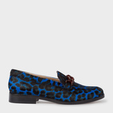 Paul Smith Women's Blue Leopard Print Calf Hair 'Cora' Loafers