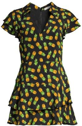 Alice + Olivia Shay Pineapple Print Ruffled Mini Dress