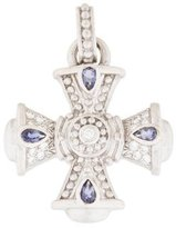 Judith Ripka 18K Diamond & Iolite Maltese Cross Pendant