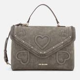 Love Moschino Women's Heart Applique Satchel Bag - Grey