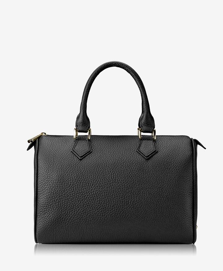 GiGi New York Brooke Barrel Bag, Black Pebble Grain