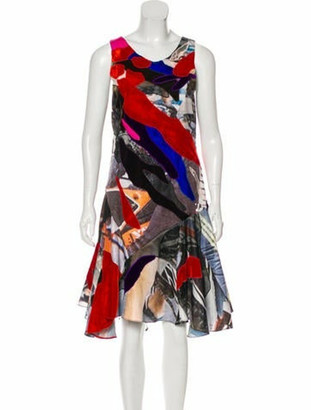 Koché Abstract Sleeveless Dress Red
