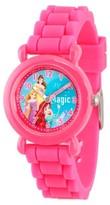 Disney Girls' Princess Ariel, Belle and Rapunzel Pink Plastic Time Teacher Watch - Pink