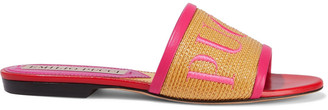 Emilio Pucci Leather-trimmed Embroidered Straw Slides