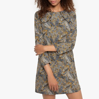 Compania Fantastica Short Shift Dress in Leaf Print with Long Sleeves