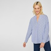Esprit Cotton Polka Dot Blouse with V-Neck