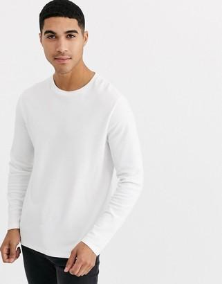 Burton Menswear long sleeve waffle top in white