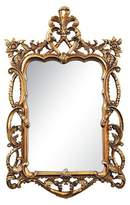 Lazy Susan Rectangle Floral Scroll Decorative Wall Mirror Gold