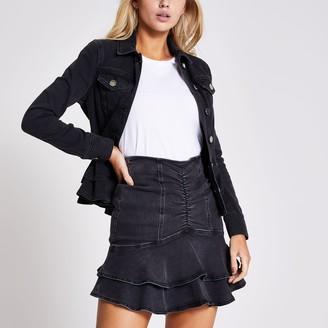 River Island Womens Black ruched frill mini denim skirt