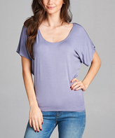 Lavender Scoop Neck Dolman Tee