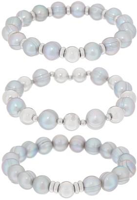 Honora Cultured Pearl Stretch Bracelet Set Sterling