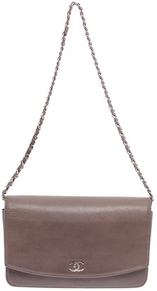 Chanel Wallet on Chain Grey Leather Clutch bags