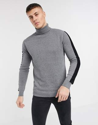 Brave Soul 100% cotton roll neck sweater with arm stripe in dark gray